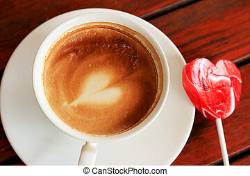 drinking coffee and candy sweet