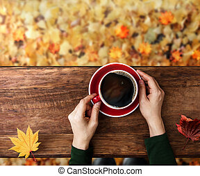 Drinking Coffee in Fall and Autumn Season. Person with Hot Coffee Cup, Sitting at Backyard or Park in Autumn. Colorful Foliages on ground as background. Top View