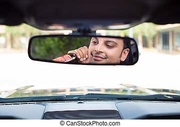 Drinking, driving, reflecting - Closeup portrait, young guy...