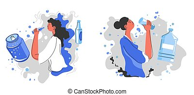 Drinking fizzy soda or still water, healthy lifestyle