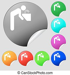 drinking fountain icon sign. Set of eight multi colored round buttons, stickers. Vector