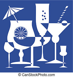 Drinking or coctail glasses. Full scalable vector graphic. File included Eps v8 and 300 dpi JPG
