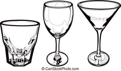 Drinking Glasses - Three vector drinking glasses: A shot...