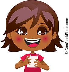 Drinking Healthy Milk - Adorable African American girl...
