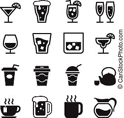 Drinking icons set Vector illustration