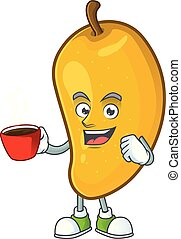 cartoon of mango character on a white background.