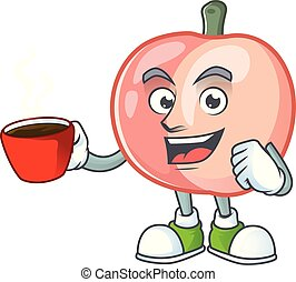 Drinking in cup peach character mascot for cute emoticon