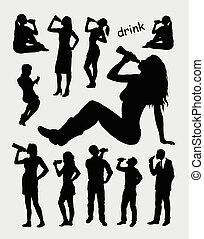 Drinking male and female silhouette