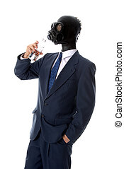 Drinking mask man - man in blue suit with mask drinking