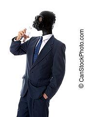 Drinking mask man