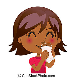 Cute black girl drinking a glass of nutritious milk