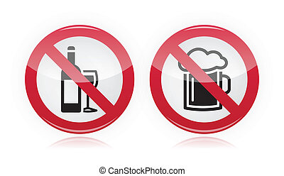 Drinking problem - no alcohol sign - Red warning vector sign...