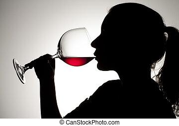 drinking red wine