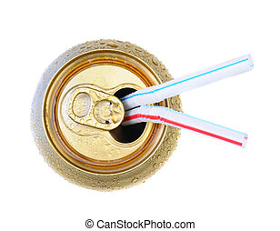 Drinking Straws in Open Soda Can