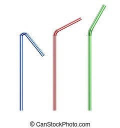 drinking straws isolated - 3d illustration of drinking...