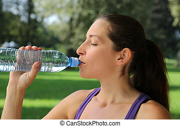 Drinking water after jogging or running
