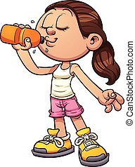 Drinking water - Cartoon girl drinking water. Vector clip...