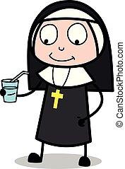 Drinking Water - Cartoon Nun Lady Vector Illustration