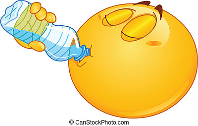 Drinking water emoticon - Emoticon drinking water from a...