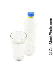 Drinking water in bottle and glass on white background.