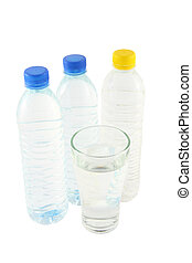 Drinking water in bottles and glass on white background.