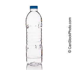 Drinking water in clear plastic bottle. Studio shot isolated on white
