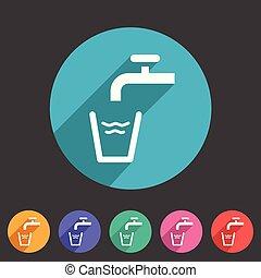 Drinking water point tap icon flat web sign symbol logo label