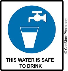 Drinking water sign This water is safe to drink notice Vector banner