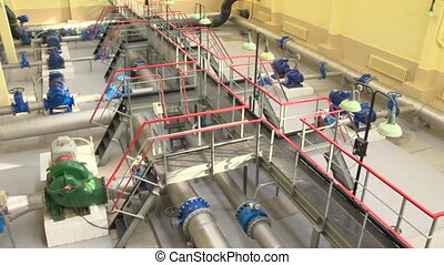 Drinking water treatment using ultrafiltration in water plant. Panorama shot