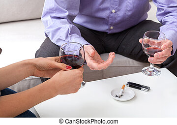 Drinking wine during conversation