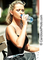 Drinking woman - Blond woman drinking water
