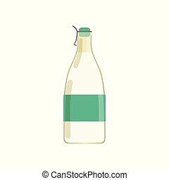 Drinking yogurt, kefir or milk in glass bottle with green...