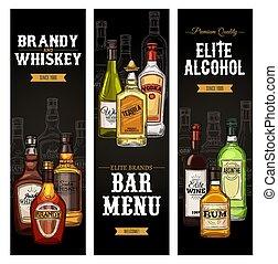 drinks., ウイスキー, ウォッカ, ワイン, アルコール, びん