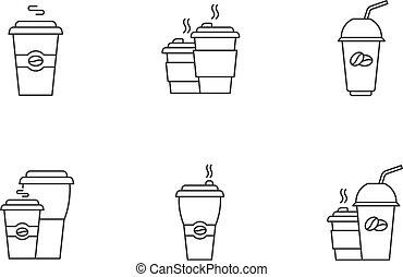 drinks., カフェイン, 行きなさい, set., 完全, 使い捨て可能, mugs., ベクトル, 線, latte, editable, 隔離された, カップ, ピクセル, アイコン, アウトライン, ストローク, drawing., プラスチック, customizable, カプチーノ, 線である, コーヒー, 薄くなりなさい, symbols.