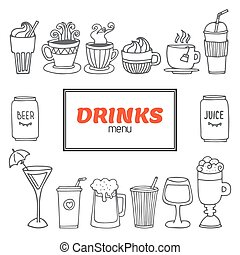 Drinks and beverages hand drawn vector set. Drinks menu collection