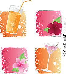 Four drinks and flowers on grunge backgrounds