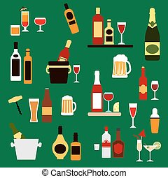 Drinks, beverages and alcohol cocktails flat icons