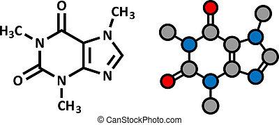 drinks., café, chá, energia, molecule., cafeína, presente, ...