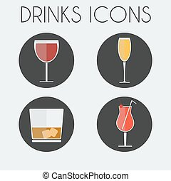 Drinks Cocktail Glasses icon Set
