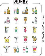 Drinks color icons set. Alcohol menu card. Beverages for ...