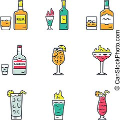 Drinks color icons set. Rum, absinthe, whiskey, sambuca, ...