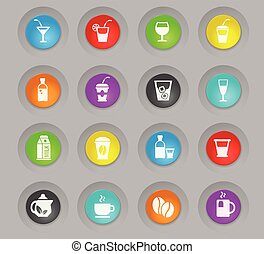 drinks colored plastic round buttons icon set
