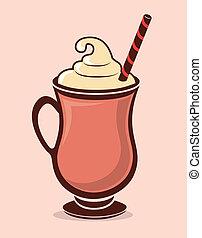 Drinks design over pink background, vector illustration