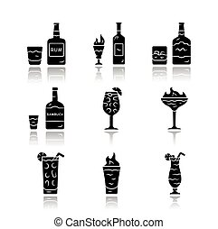 Drinks drop shadow black glyph icons set. Rum, absinthe, ...