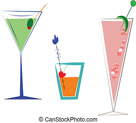 drinks elements - various drinks in glasses on white