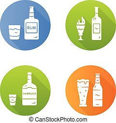 Drinks flat design long shadow glyph icons set. Rum, ...