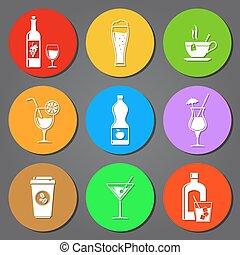 Drinks  flat icons set