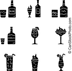Drinks glyph icons set. Rum, absinthe, whiskey, sambuca, ...