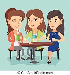 drinks., gruppo, alcolico, caldo, bere, donne