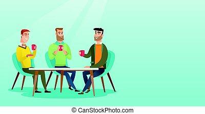 drinks., gruppo, alcolico, uomini, caldo, bere